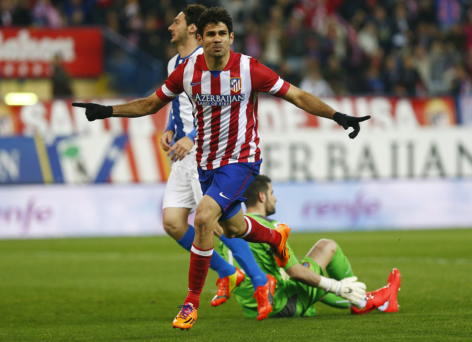 temporada 13/14. Partido Atlético de Madrid-Espanyol. Diego Costa celebrando un gol