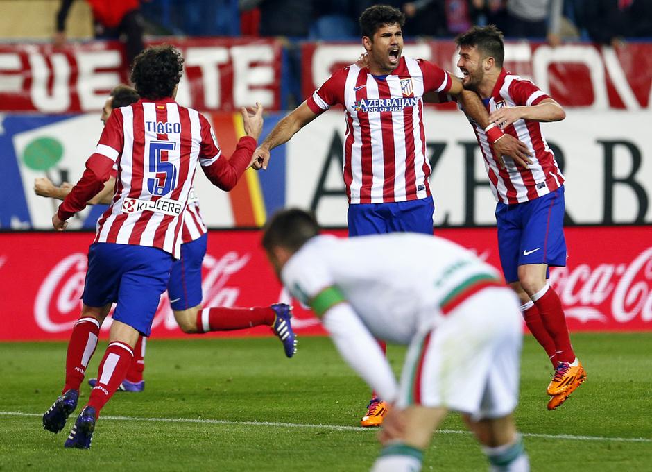 temporada 13/14. Partido Atlético de Madrid-Sevilla. Celebración de Diego Costa.