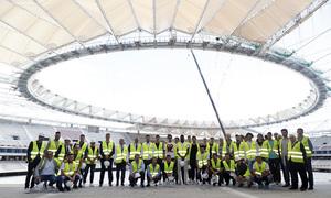 La primera plantilla visitó el Wanda Metropolitano