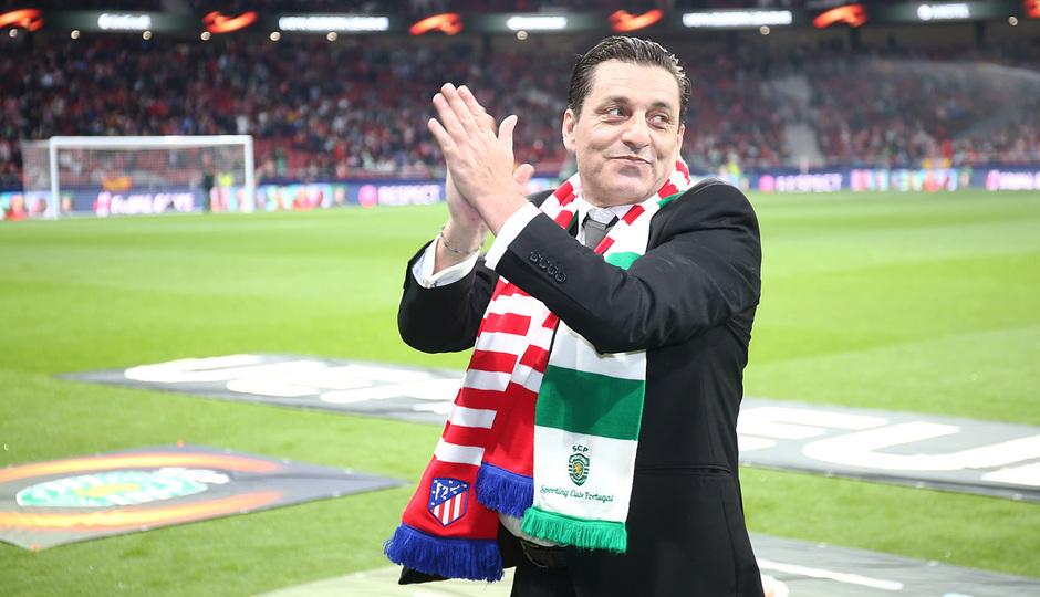 Futre, embajador del Atlético - Sporting CP de Europa League, vivió una jornada única en la ida en el Wanda Metropolitano