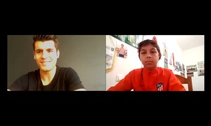 Morata talks to Academy U12 player Brayan