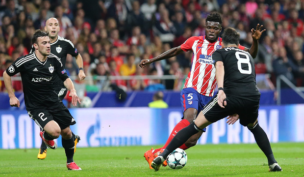 temporada 17/18. Partido en el Wanda Metropolitano. Atlético Qarabag. Thomas durante el partido
