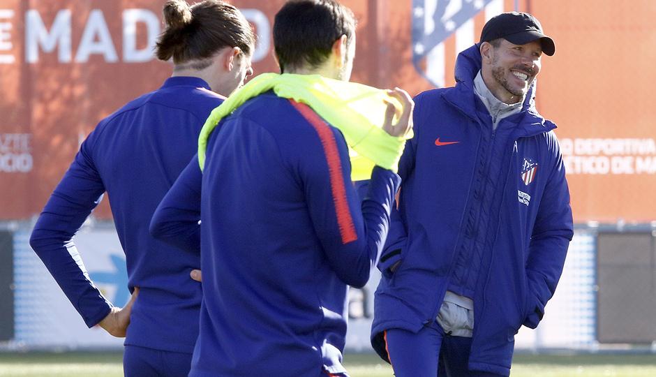 Simeone, durante el entrenamiento (Foto: ATM).