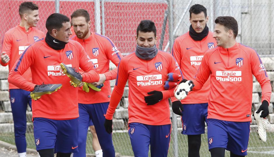 Los jugadores del Atlético, en la sesión de este viernes (Foto: ATM).