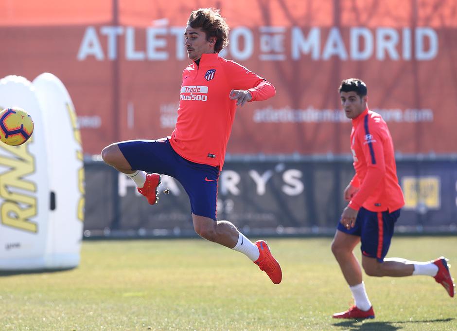 Griezmann, durante el entrenamiento.