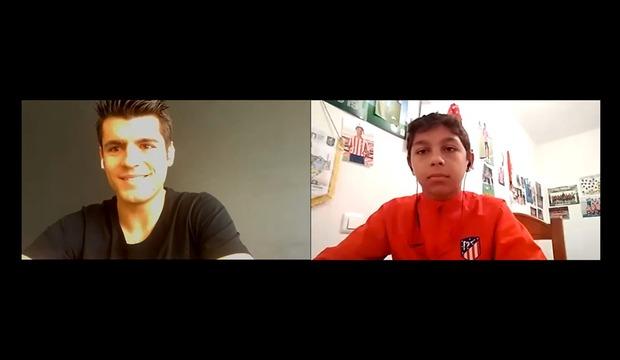 Álvaro Morata, en su charla virtual con Brayan de la Cruz.